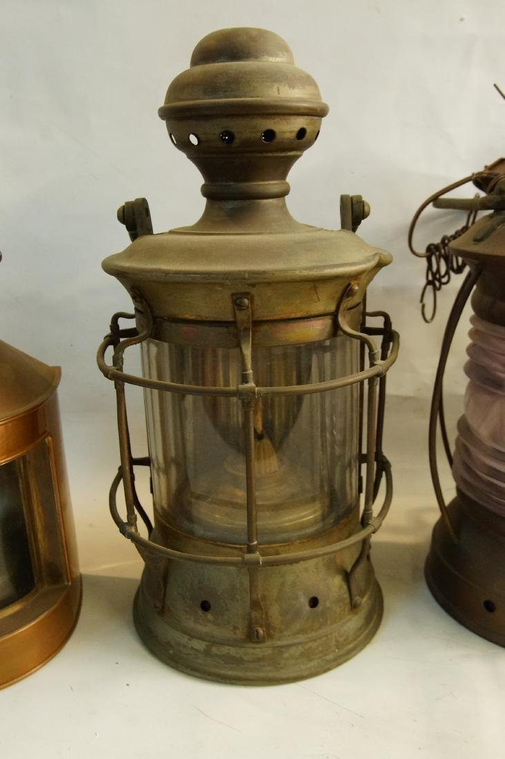 Collection of five antique kerosene lanterns - 3