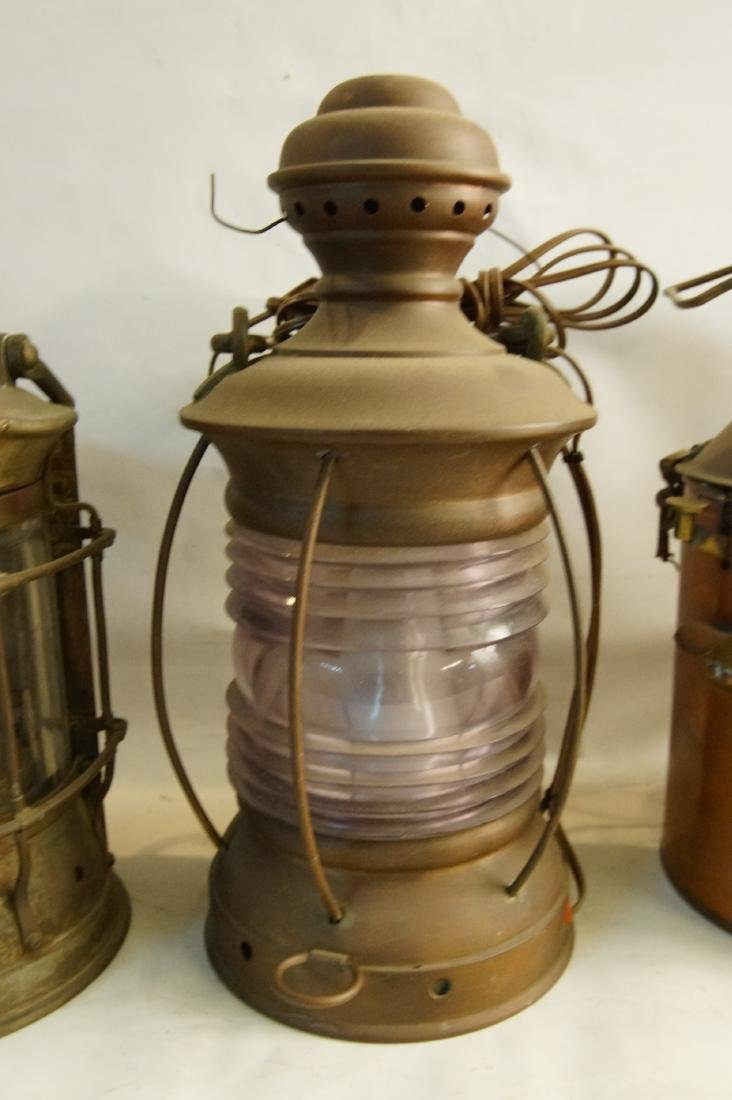 Collection of five antique kerosene lanterns - 4