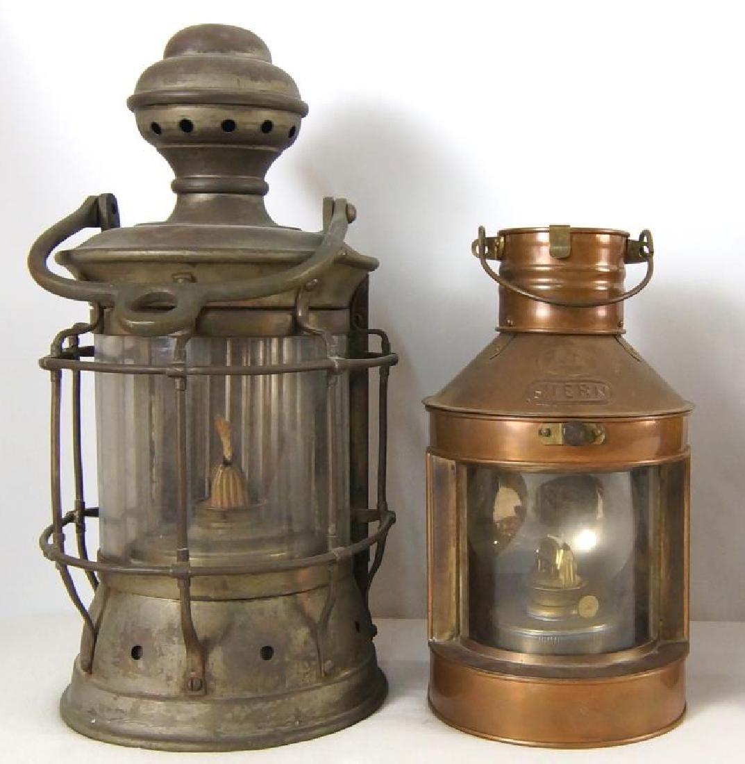 Collection of five antique kerosene lanterns - 8