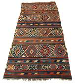Antique Caucasian Killim woven geometric rug