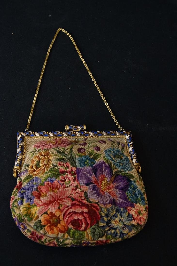 Antique French petit point and enameled purse