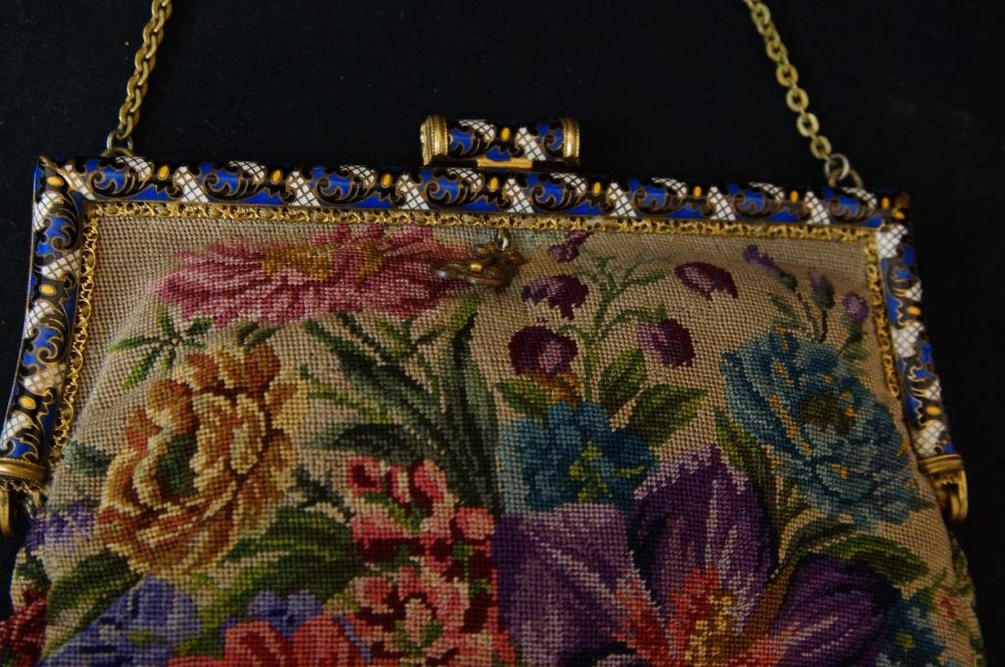 Antique French petit point and enameled purse - 2