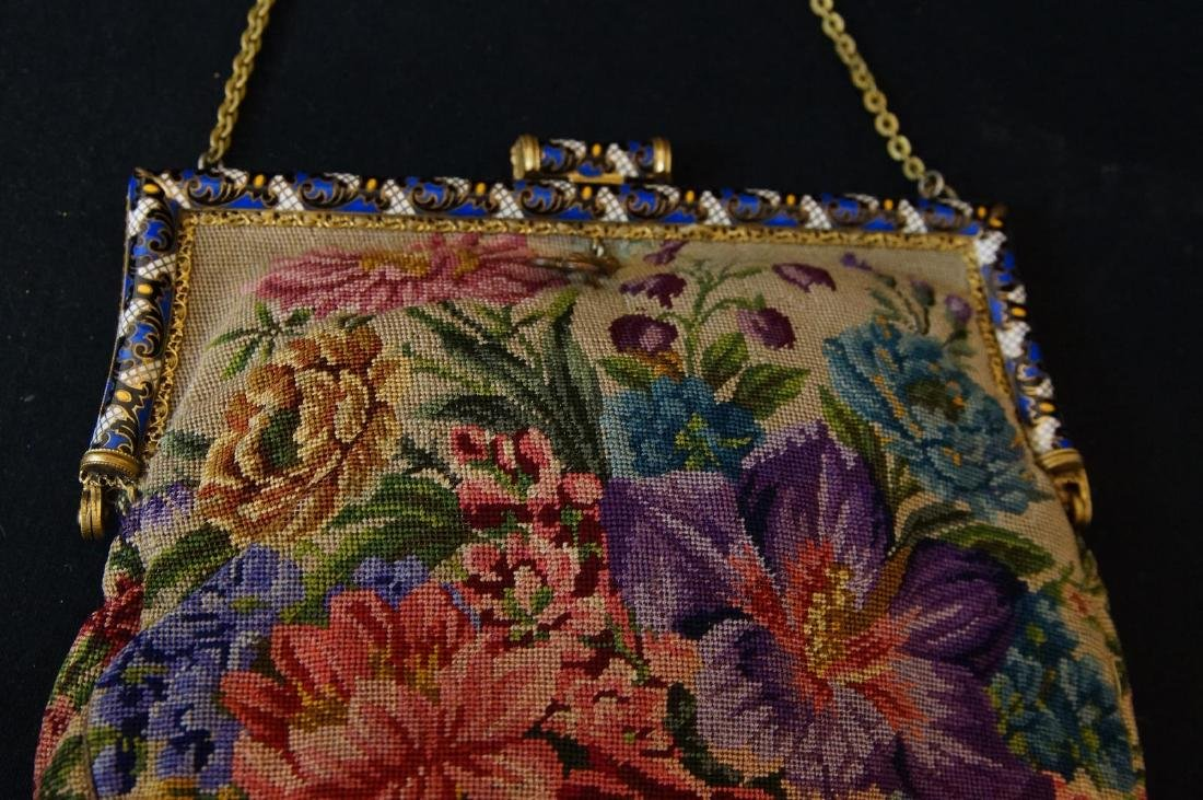 Antique French petit point and enameled purse - 3