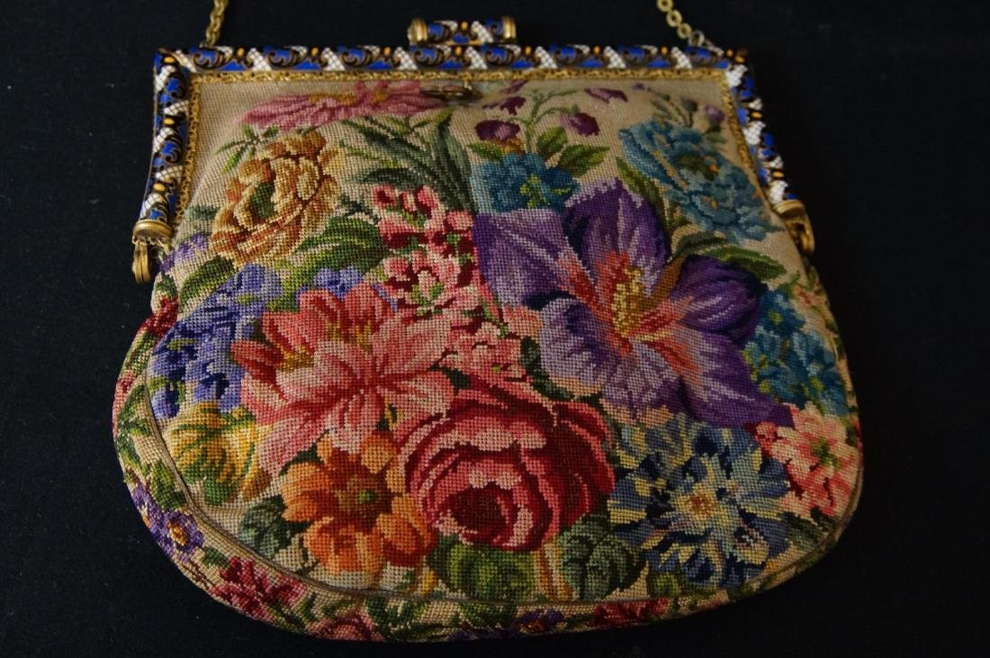 Antique French petit point and enameled purse - 4