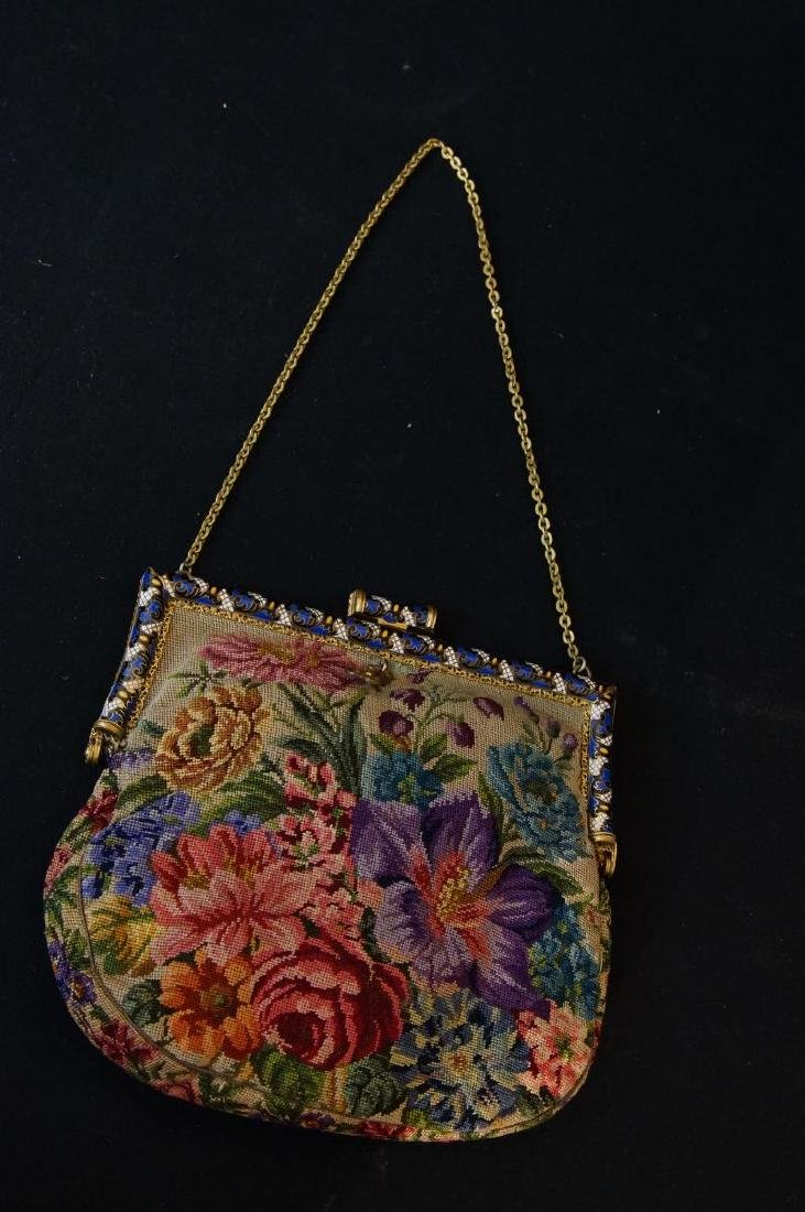 Antique French petit point and enameled purse - 6