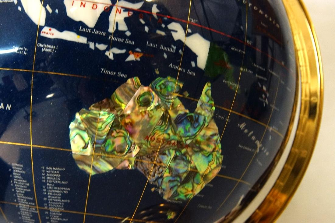 The Pearl Globe - Hard Stone & Brass World Globe - 3