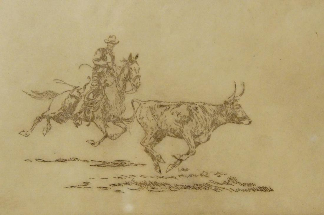 Borein unsigned- Cowboy chasing Bull - 3