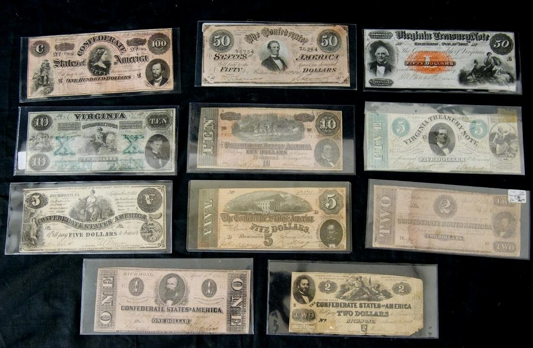 Collection of 11 Confederate paper currency notes