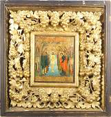 Russian 1819th c Icon wood carved gilded frame