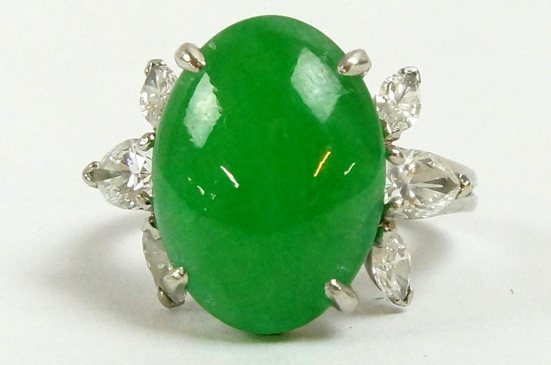 Platinum & diamond apple green jade ring