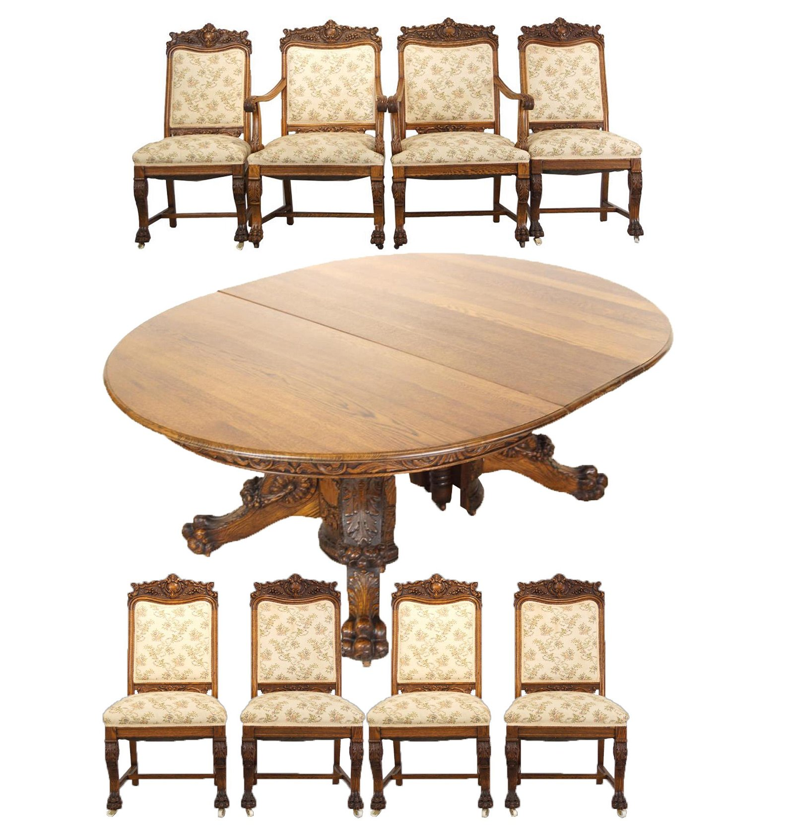 An Antique American Oak Dining table & chairs