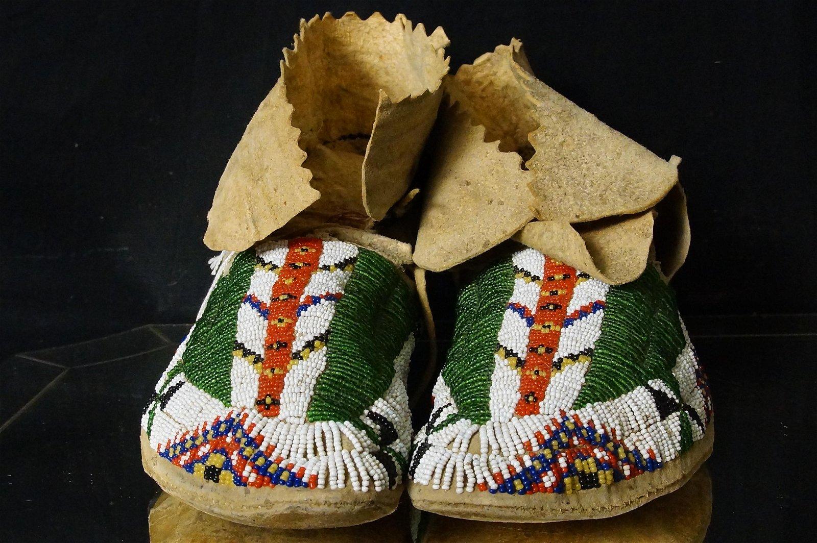 Pair Sioux beaded moccasins circa 1890