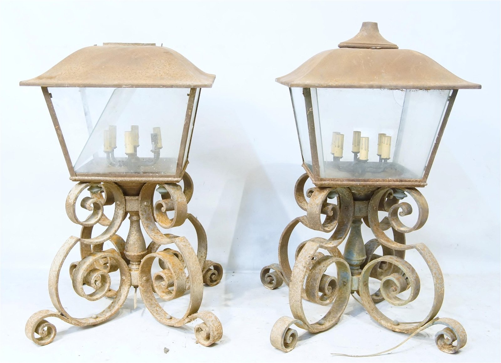 Pair of Large Antique wrought Iron outdoor lamps