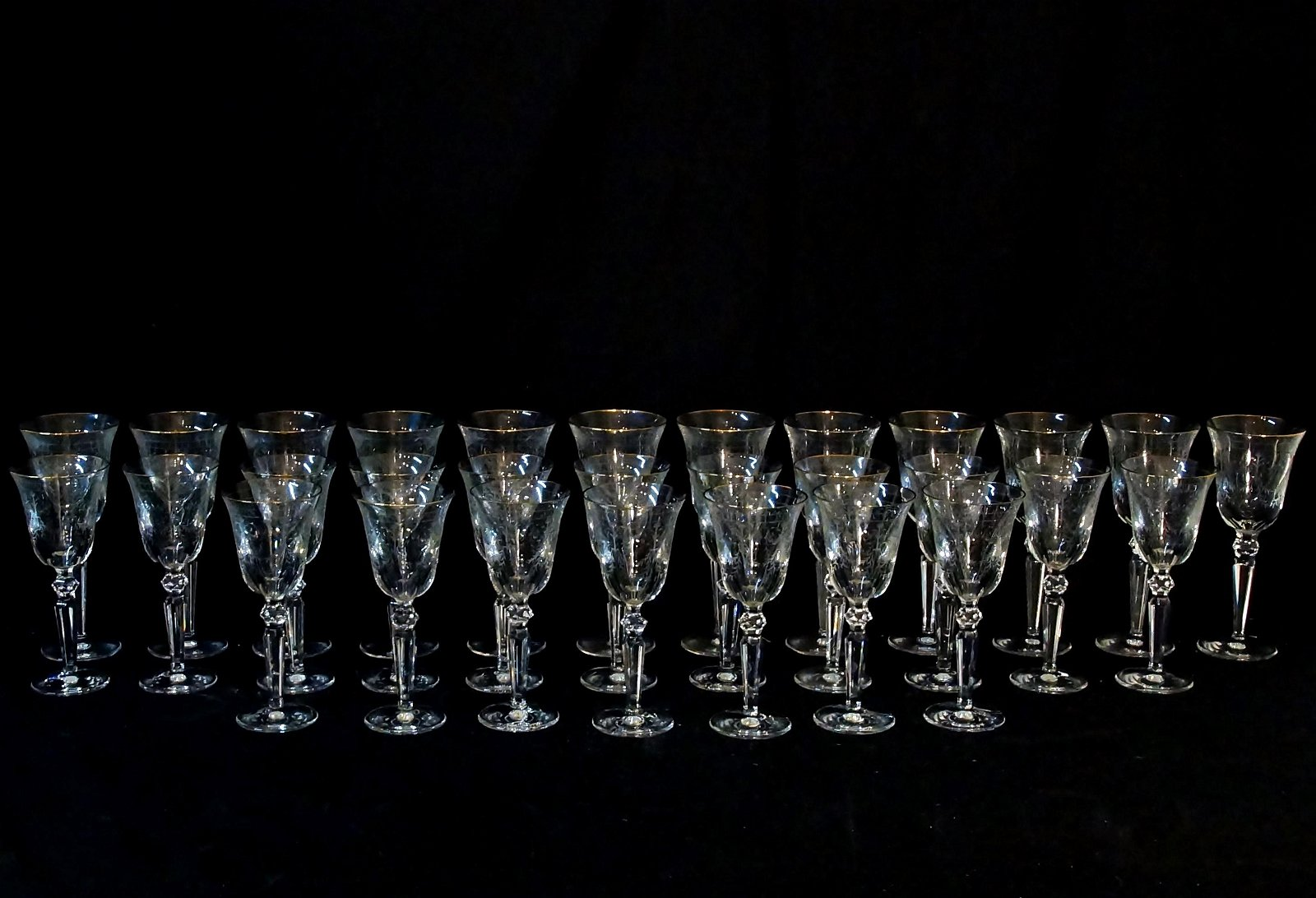 Collection of Fine Etched Crystal Waterford Stems