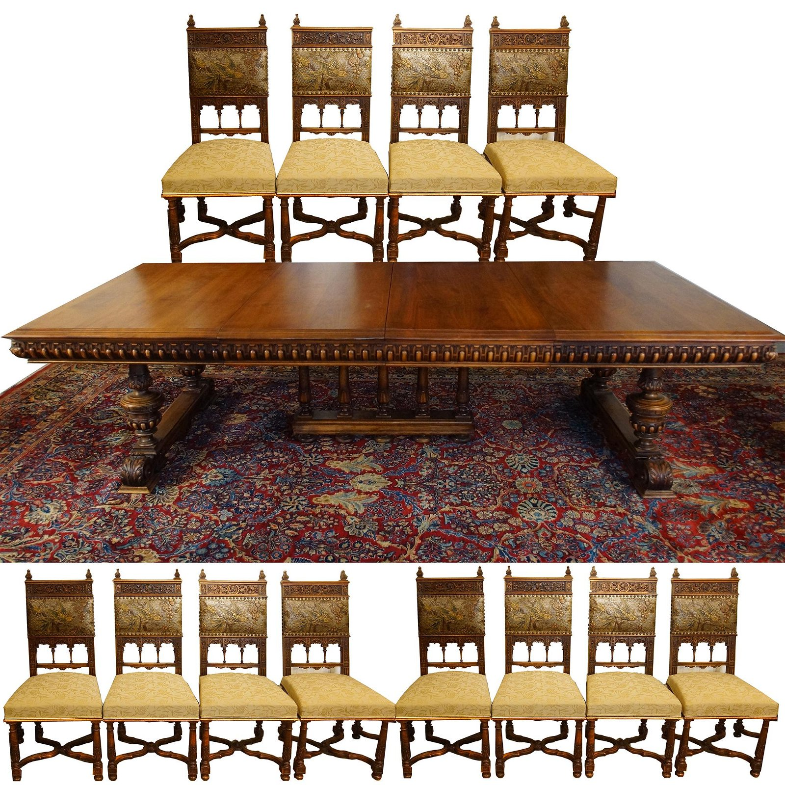 Spanish Highly Carved Walnut Table &12 Chairs