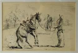 Edward Borein (1872-1945) India Ink Drawing