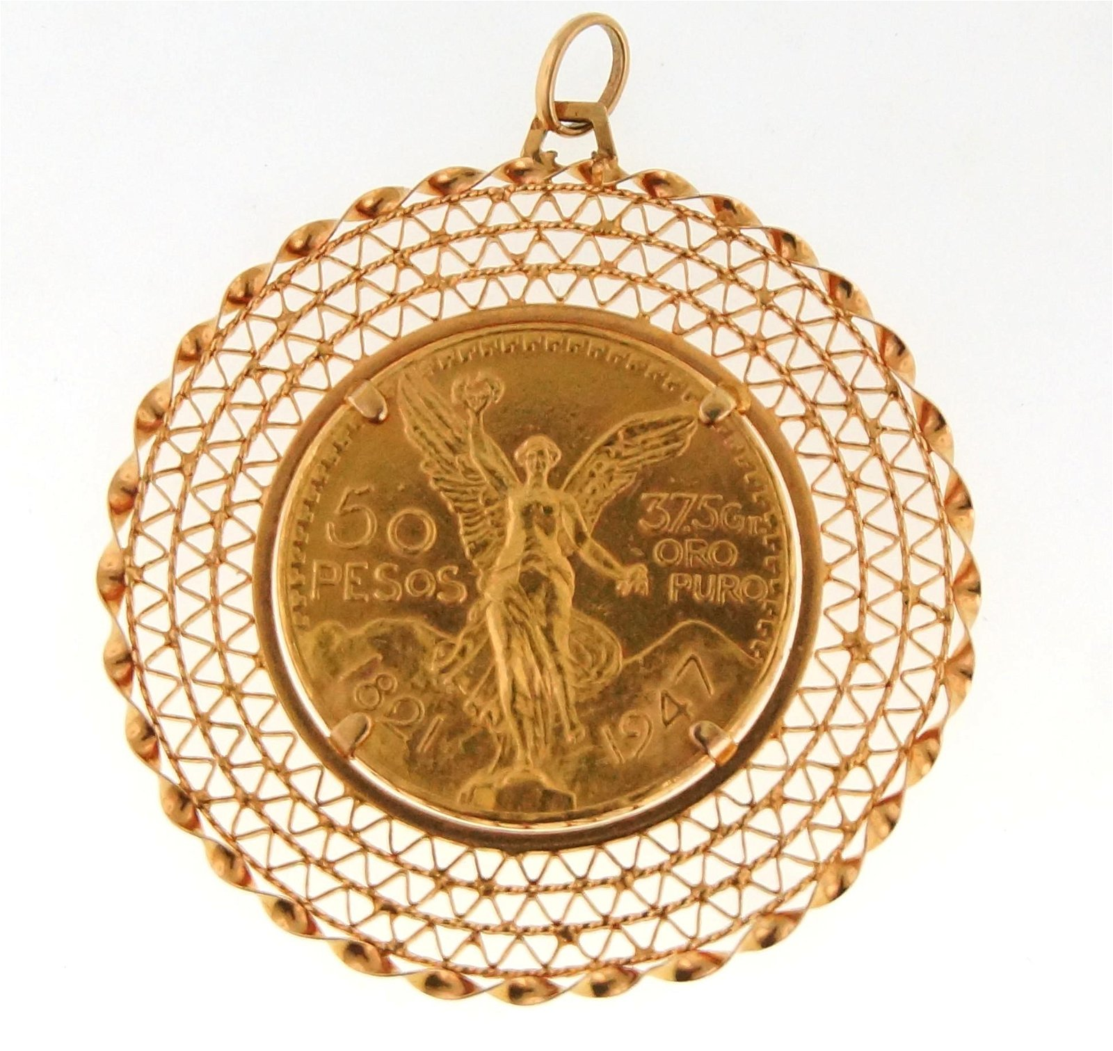 18kt Gold pendant 22kt Gold Mexican 50 peso coin