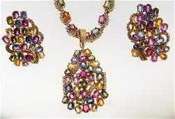 Fine Diamond & Sapphire Necklace & Earring Set