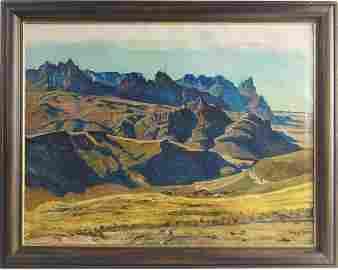 William Wendt (1865-1946) oil on canvas landscape