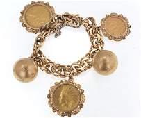 14kt Gold charm bracelet - w 3 gold coins