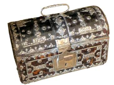 17/18th c. Spanish Colonial Silver mounted Casket