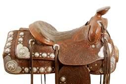 Horseman Shop Show Saddle with Keyston Silver Conchos
