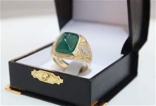 18kt Gold Men's 10 carat Colombian Emerald Ring