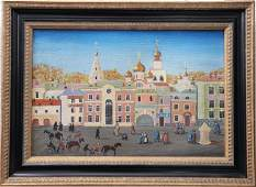 Russian townscape 1996 oil on canvas