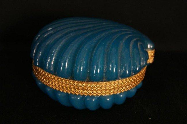 2: Murano powder box w Dore bronze trim - clam shell