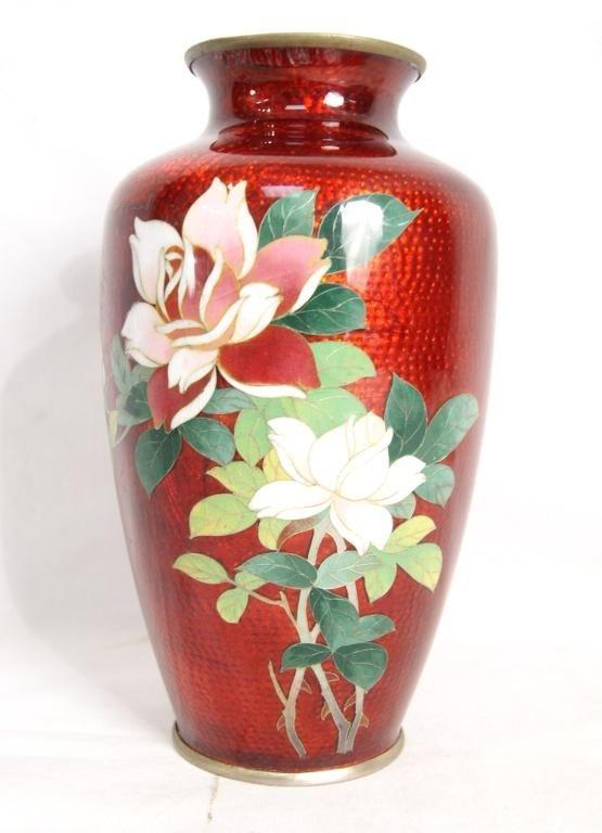 "7: Japanese red enameled vase - 7.5"""