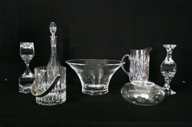 9: Lot of crystal & glass - 7pcs 1 Baccarat dish carafe