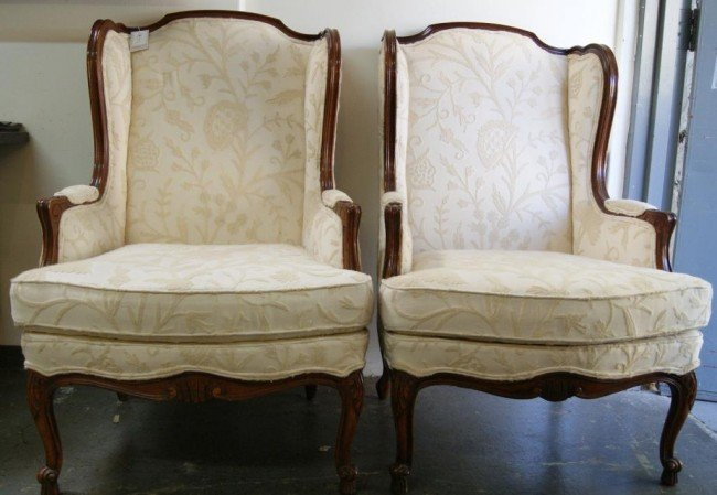 14: French wing back uph chairs w wood trim- 2