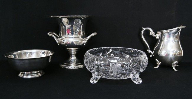 15: S/P champagne, water pitcher, bowl & crystal bowl f