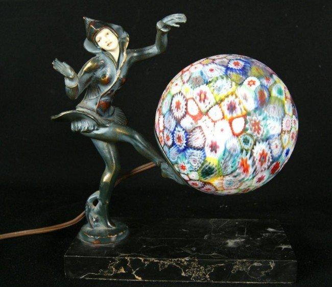 16: Millefiore art glass Deco lamp
