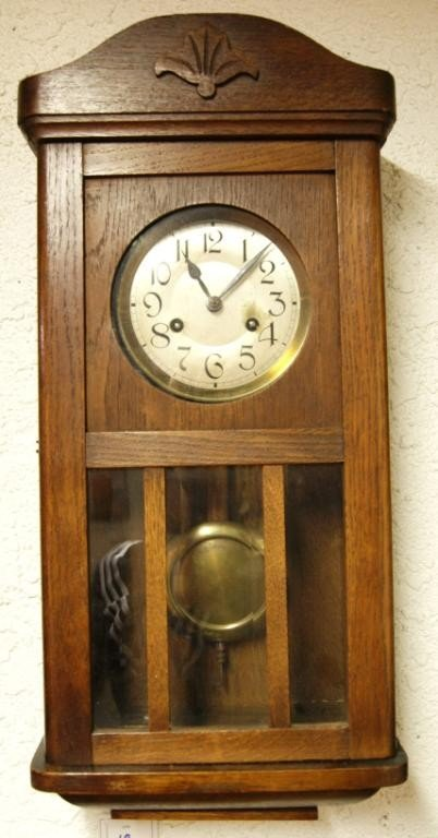 18: Antique English oak wall clock