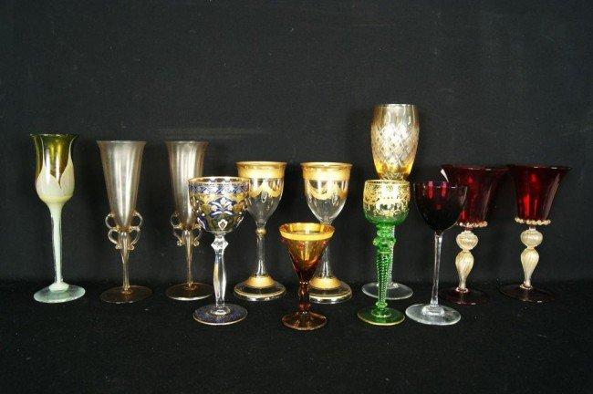 20: Collection of Stemware -Venetian, Gold Overlay etc
