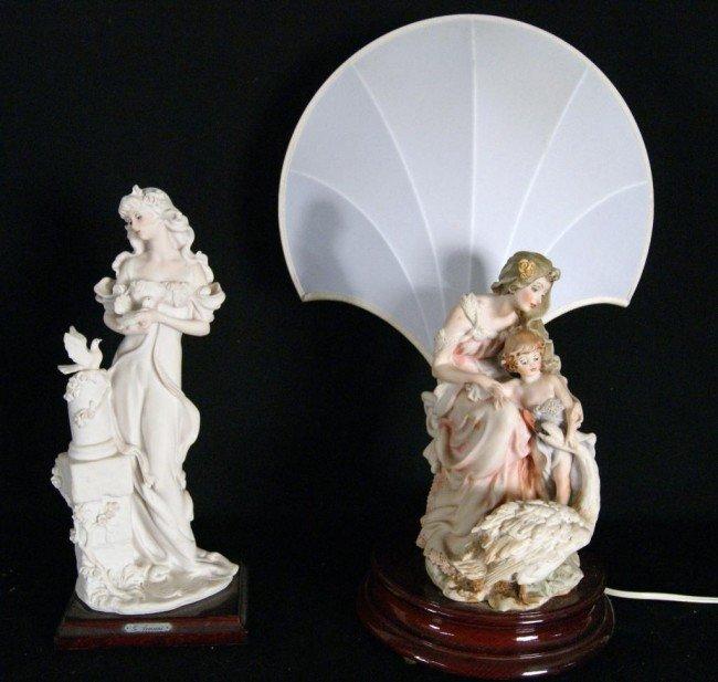 21: Capo di Monte lamp & Armani statue - 2pcs