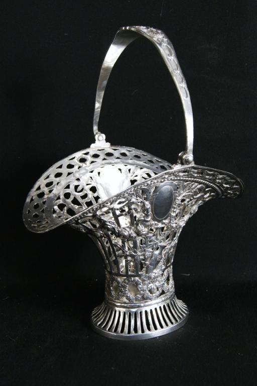 """22: Antique Silver plate Brides Basket 14"""" x 10.5"""""""