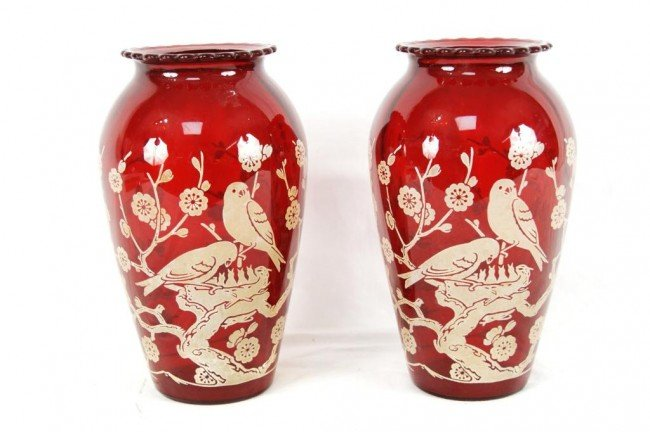 12A: Pair of Red Etched Glass Vases with birds