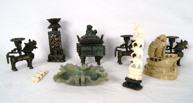 2: Oriental pcs - incense burner, jade carvings candle