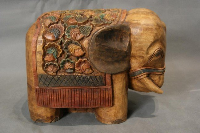 "3: Oriental wood carved Elephant 18"" x 15"" x 11.5"" soli"