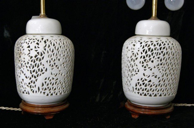 4: Pierced ceramic ginger jar lamps - 2