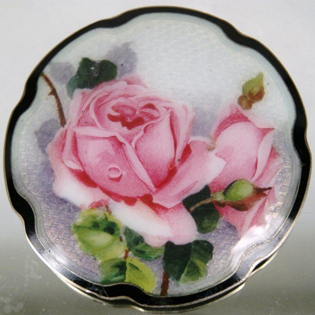 14: French enameled pin on 925 Silver w roses