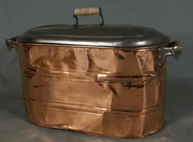 20: Antique copper boiler w lid