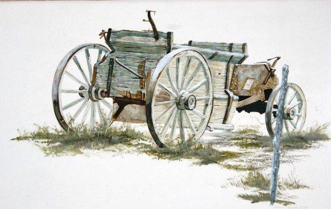 "86: Terry Pardue wagon acrylic 24""x30"" 1981 - 2"