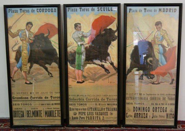 152A: 3 Vintage Spanish Bullfighting Posters