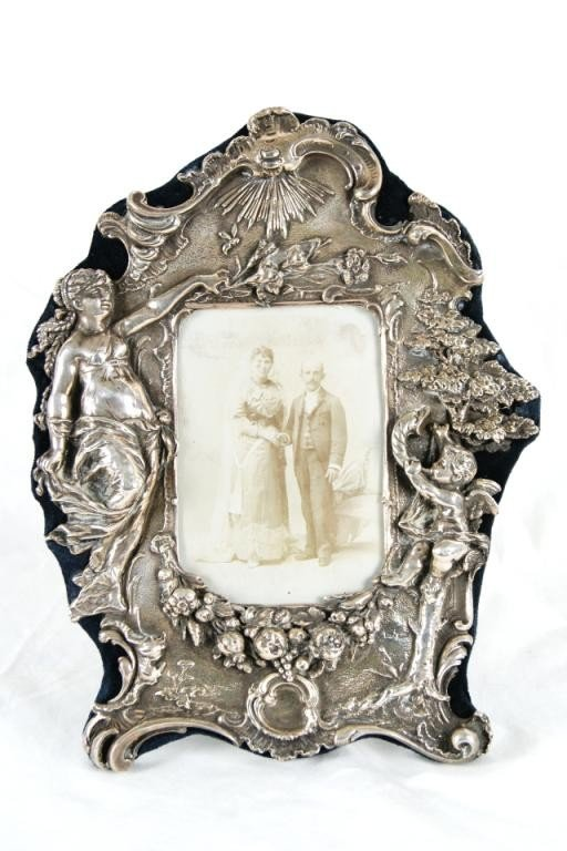 "2: Sterling silver embossed  frame 12""x10"""