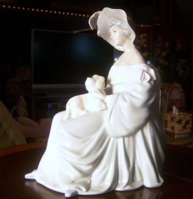 "8: Porcelain Lladro style  figure - ""Girl with dog"" by"