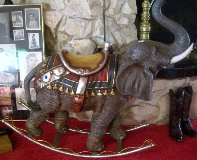 "11: Brass & Composition elephant rocker 14""x43""x52"""