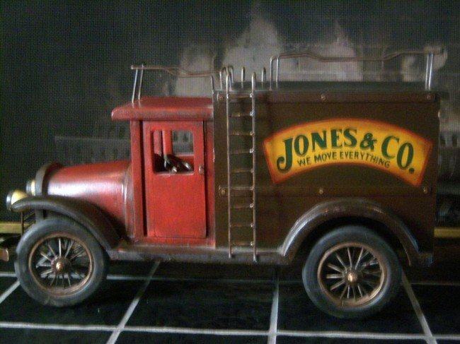 "15: Jones & Co. wooden delivery toy truck 24""x14""x10"""